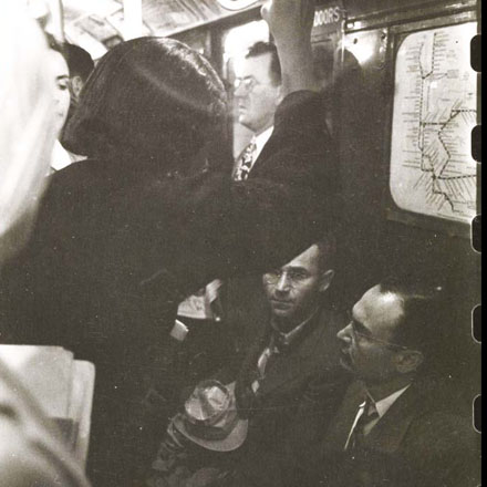 Stanley Kubrick. Life and Love on the New York City Subway. Passengers in a subway car. 1946. Museum of the City of New York. X2011.4.10292.52B