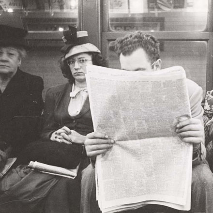 Stanley Kubrick. Life and Love on the New York City Subway. Passengers in a subway car. 1946. Museum of the City of New York. X2011.4.10292.55E