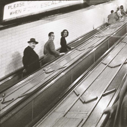 Stanley Kubrick. Life and Love on the New York City Subway. People on escalators in a subway station. 1946. Museum of the City of New York. X2011.4.10292.61C