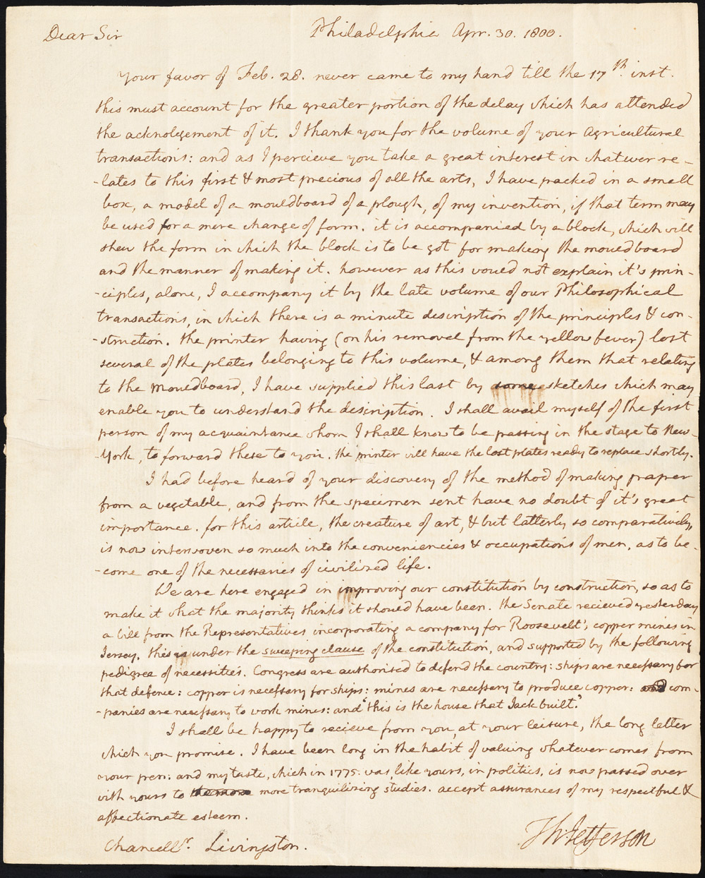 Carta ao Chanceler Robert R. Livingston de Thomas Jefferson, 30 de abril de 1800