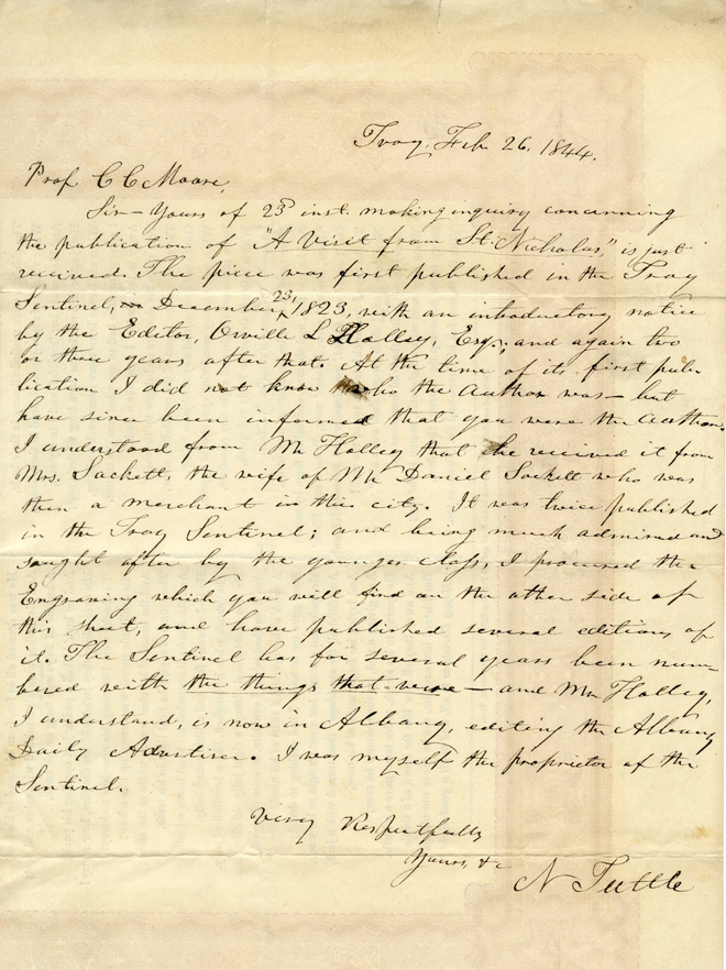 Letter from N. Tuttle to Clement Clarke Moore. 1844. Museum of the City of New York. 54.331.17b