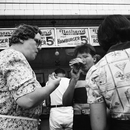 Andrew Herman, Federal Art Project (n.d.). At Nathan's Hot Dog Stand, July 1939. Museum of the City of New York. 43.131.5.33
