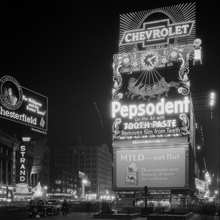 Samuel Herman Gottscho (1875-1971). New York City, Times Square. Pepsodent sign, December 9, 1930. Museum of the City of New York. 88.1.1.1527