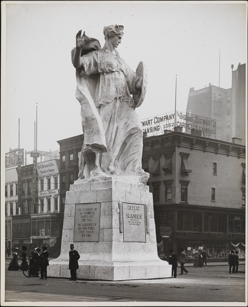 "Robert L. Bracklow (1849-1919). [Policeman in front of monument entitled ""Defeat of Slander""], 1910. Museum of the City of New York. 93.91.233"
