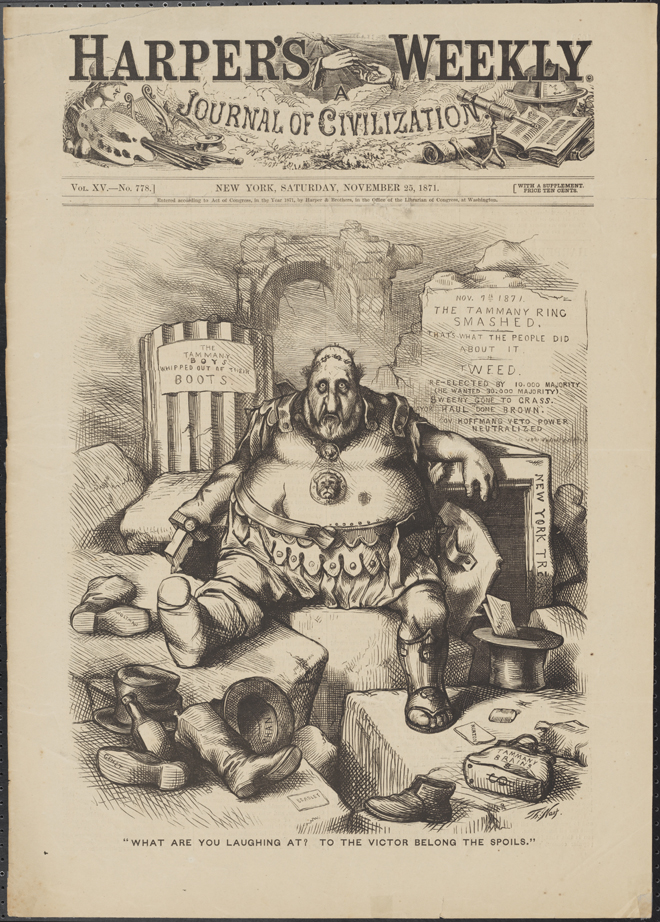"Thomas Nast (1840-1902). ""What Are You Laughing At? To The Victor Belong the Spoils."" 1871. Museum of the City of New York. 99.124.2"