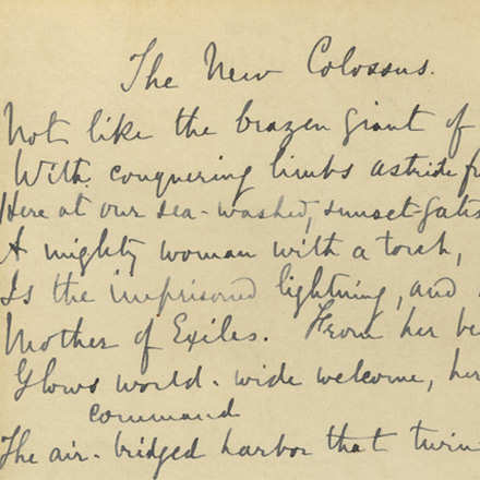 """The New Colossus,"" 1883. Manuscript by Emma Lazarus."