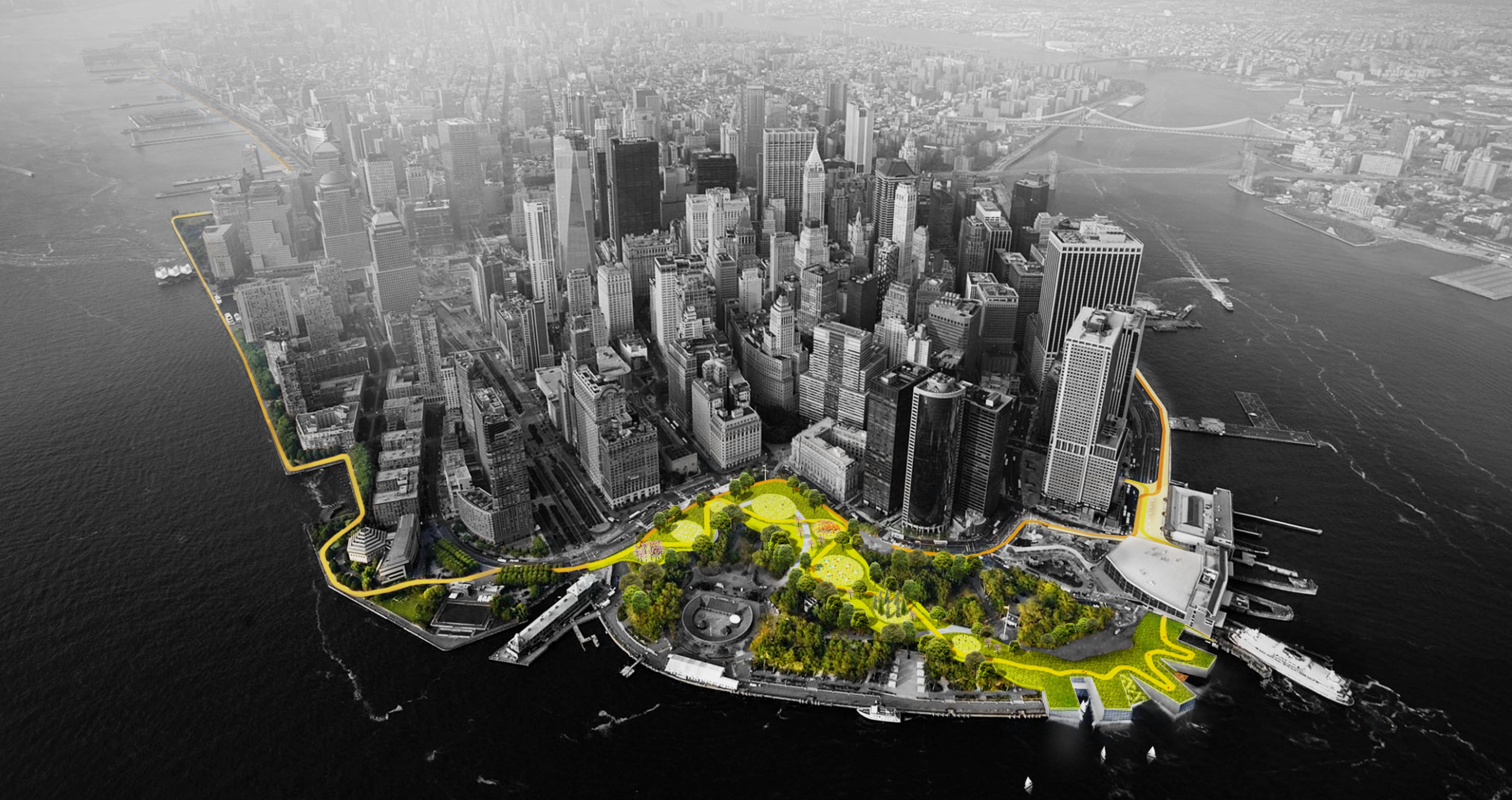 Vista aérea da parte baixa de Manhattan. Os espaços verdes são coloridos em verde e amarelo, enquanto o restante da imagem é preto e branco