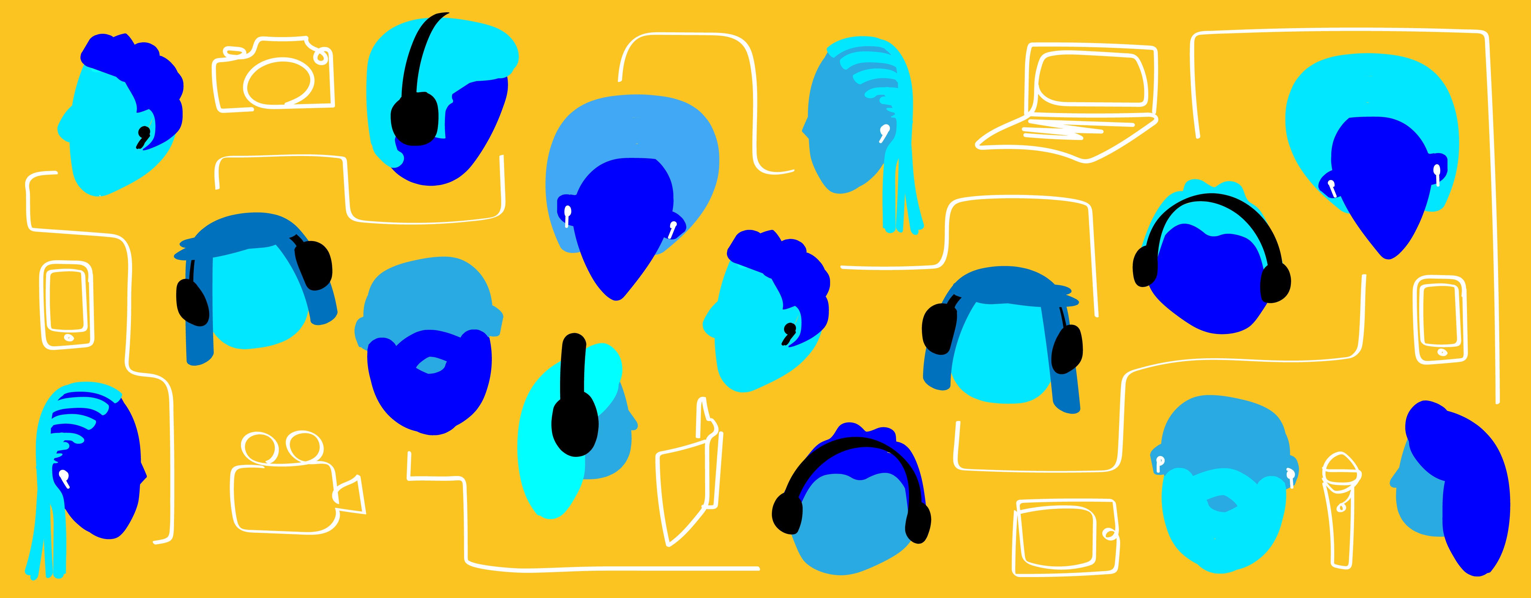 Gráfico mostrando muitas cabeças, algumas com fones de ouvido e vários dispositivos, como laptops, telefones e tablets