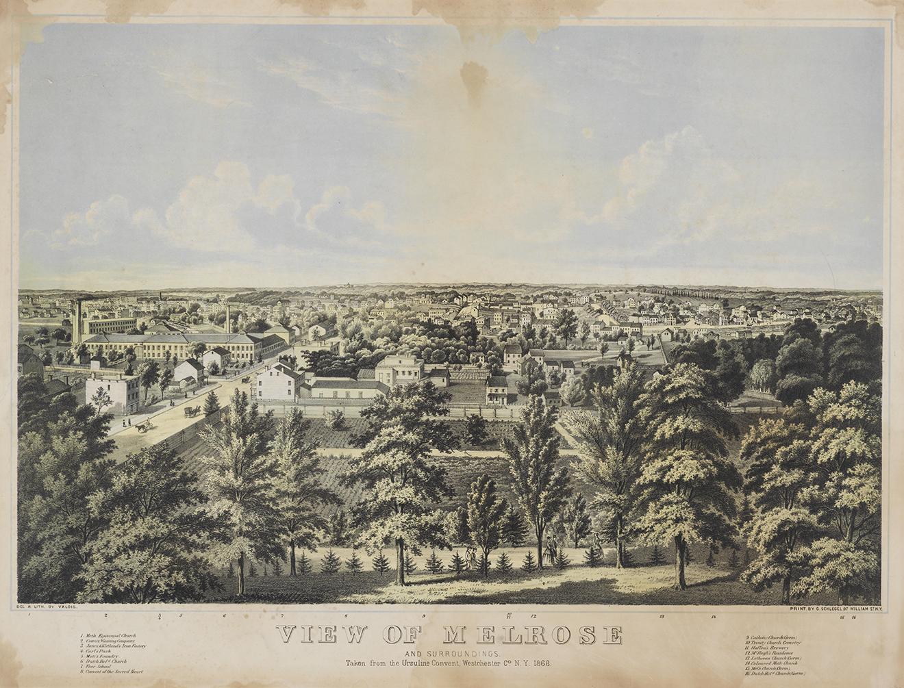 A view of Melrose, Lithograph, 1868