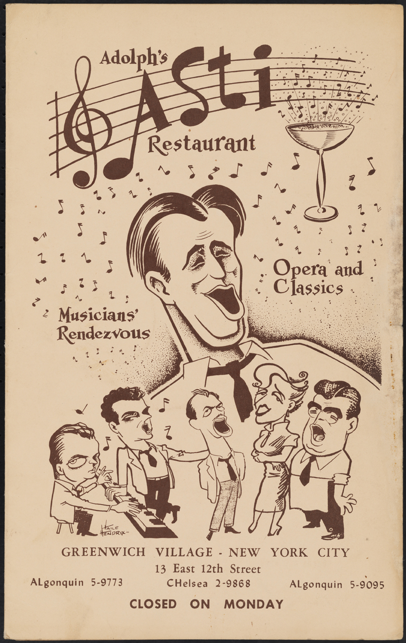 Adolph's Asti Restaurant. 1950-1970. Museum of the City of New York. 97.146.3