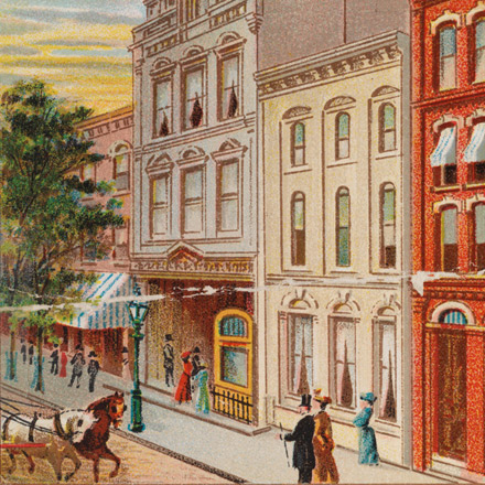 Cigarette Card depicting the Old Brooklyn Theater, 1900-1940