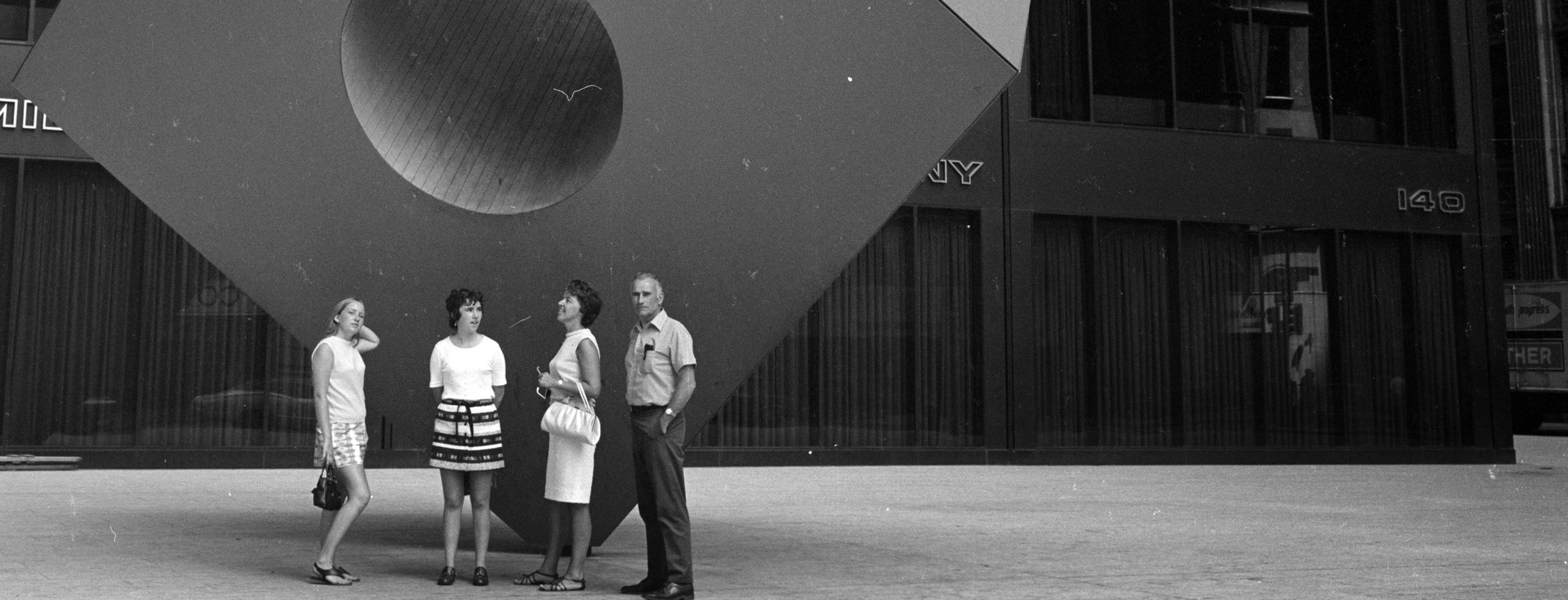 """""""Red Cube"""" adjacent to the Marine Midland Building, c. 1970"""