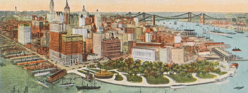 Bird's Eye View of Lower New York circa 1925