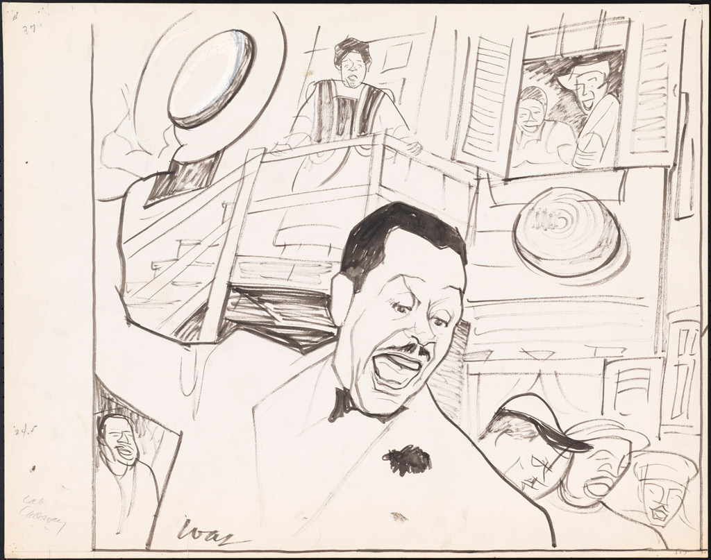 Sketch of Cab Calloway as Sportin' Life in Porgy and Bess