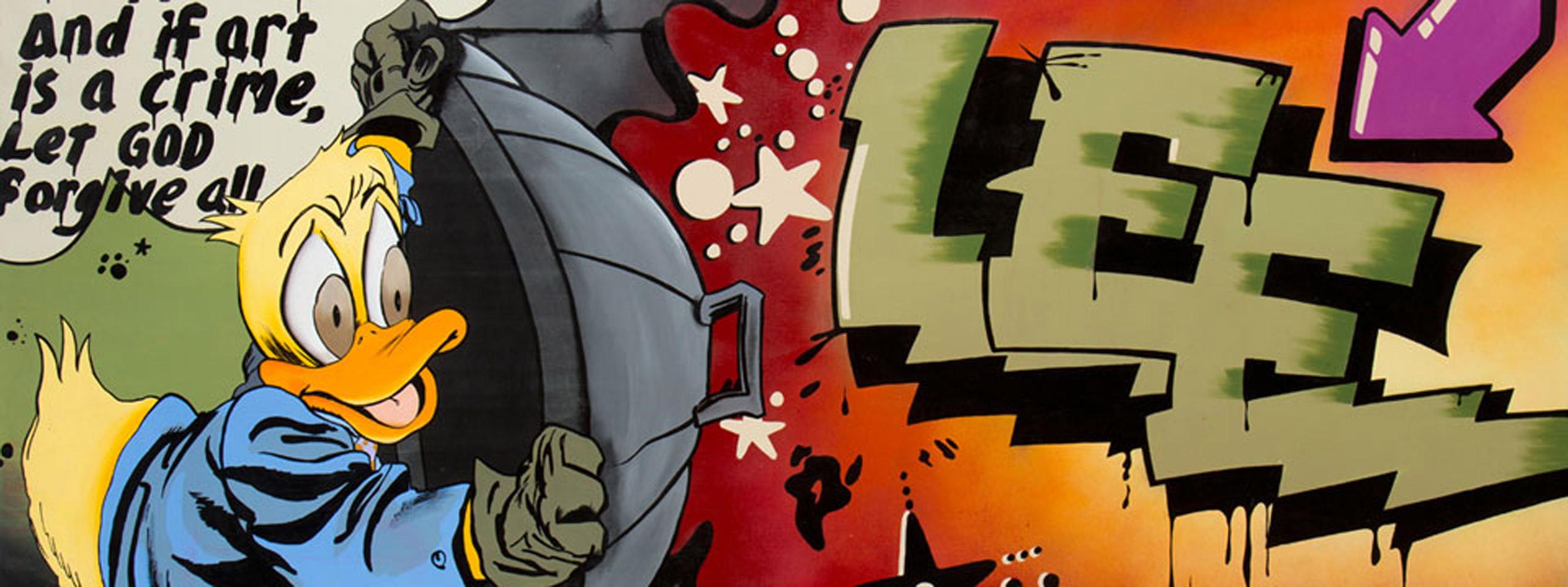 """街头艺术的名字叫李,鸭子是霍华德,躲在垃圾桶盖后面,""""如果艺术是犯罪,那就让上帝原谅一切"""""""