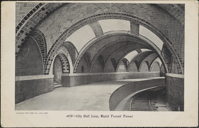 Souvenir Post Card Co. City Hall Loop, Rapid Transit Tunnel. ca. 1905. Museum of the City of New York. F2011.33.1092