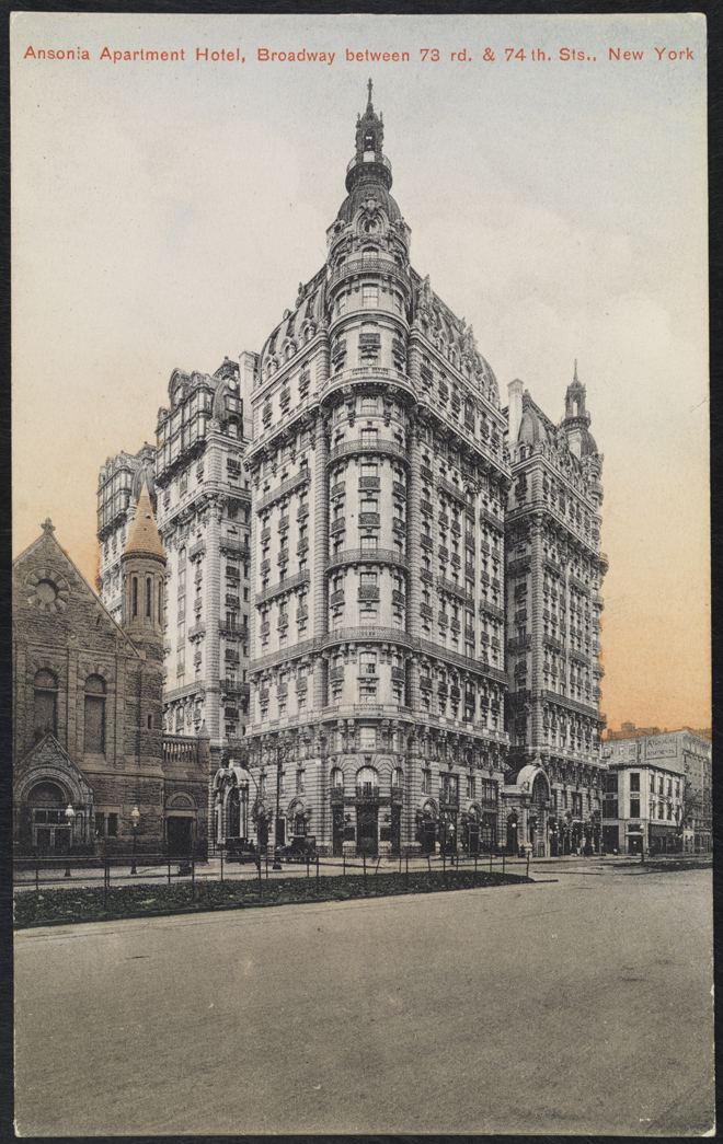 American News Company, Ansonia Apartment Hotel, Broadway between 73rd & 74th Sts., New York, ca. 1905. Museum of the City of New York. X2011.34.1135