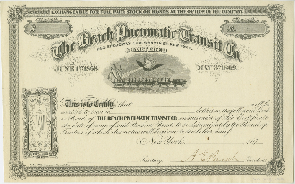 Stock Certificate for the Beach Pneumatic Transit Co, ca. 1873, in the Ephemera Collection. Museum of the City of New York. 42.314.114