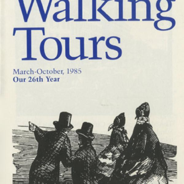 "Brochure cover for ""Sunday Walking Tours"" at the Museum, written in blue letters. An image below features men and women in 19th century dress."