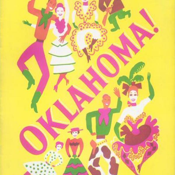 A museum photo of a Souvenir Program for Oklahoma! theatrical performance in 1943.