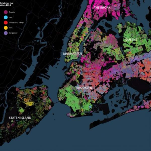 Map of the city of New York with different colors representing reported ethnicity across the city.