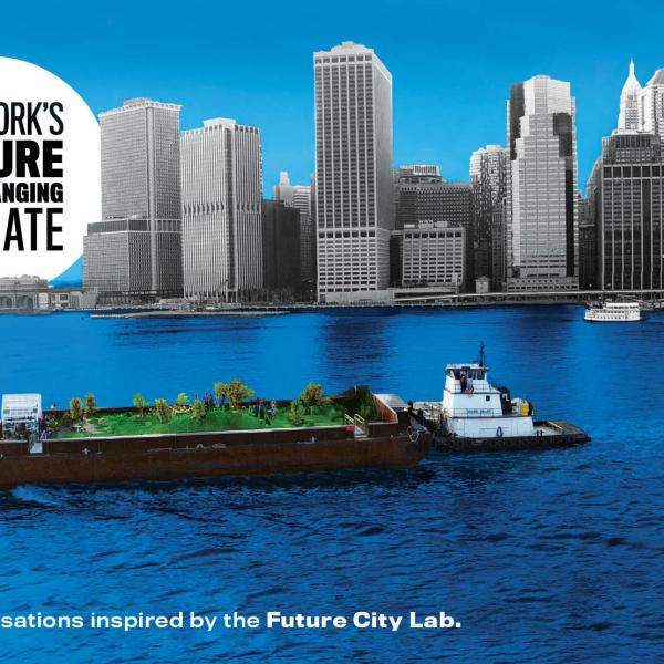 "Image for the series ""New York's Future in a Changing Climate"" showing the NYC coastline and a barge in the water below."