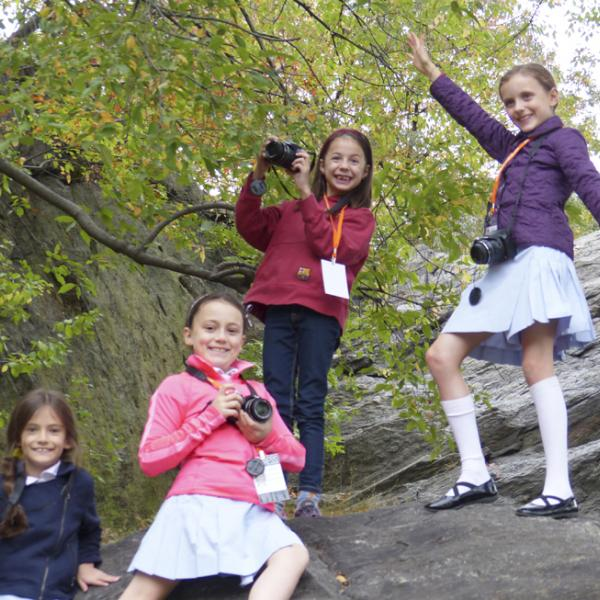 I Spy NY afterschool students on a field trip. Central Park, 2014.