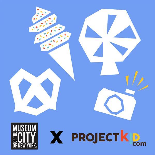 Images de formes - une grande roue, un cornet de crème glacée, un bretzel et un appareil photo - qui semblent être découpées dans du papier flottant sur un fond bleu clair, avec les logos du Musée de la ville de New York et du Projet Kid.