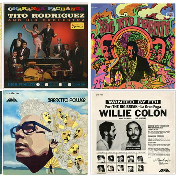 Las portadas de ocho álbumes populares de música de salsa dispuestos en una cuadrícula