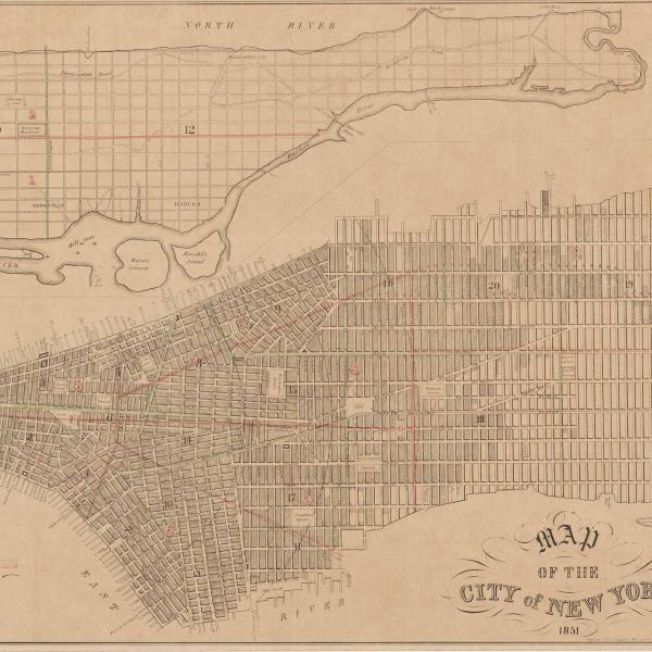 뉴욕시 그리드 시스템 계획 맵. 지도에는 거리와 공원이 표시된 맨해튼이 모두 표시됩니다.