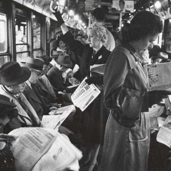 Stanley Kubrick. Life and Love on the New York City Subway. Passengers reading in a subway car. 1946. Museum of the City of New York. X2011.4.10292.30D