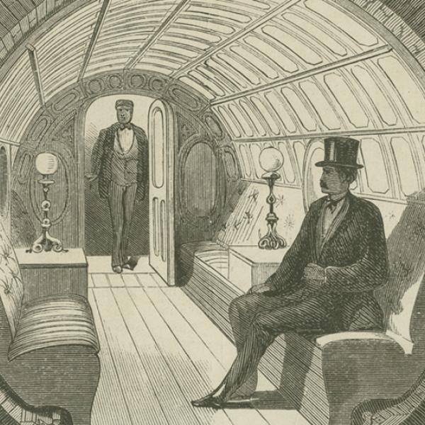 """Under Broadway – Interior of Passenger-Car,"" illustration from The Broadway Pneumatic Underground Railway, 1871, in the Ephemera Collection. Museum of the City of New York. 42.314.142"