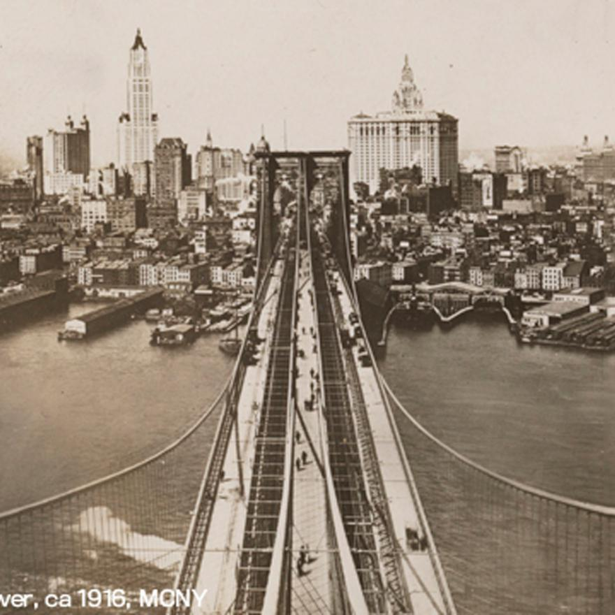 Panoramic view from the Brooklyn Bridge tower circa 1916