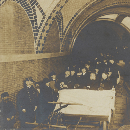 Edward Levick. Mayor McClellan on first subway trip. 1904. Museum of the City of New York. X2010.11.13549.