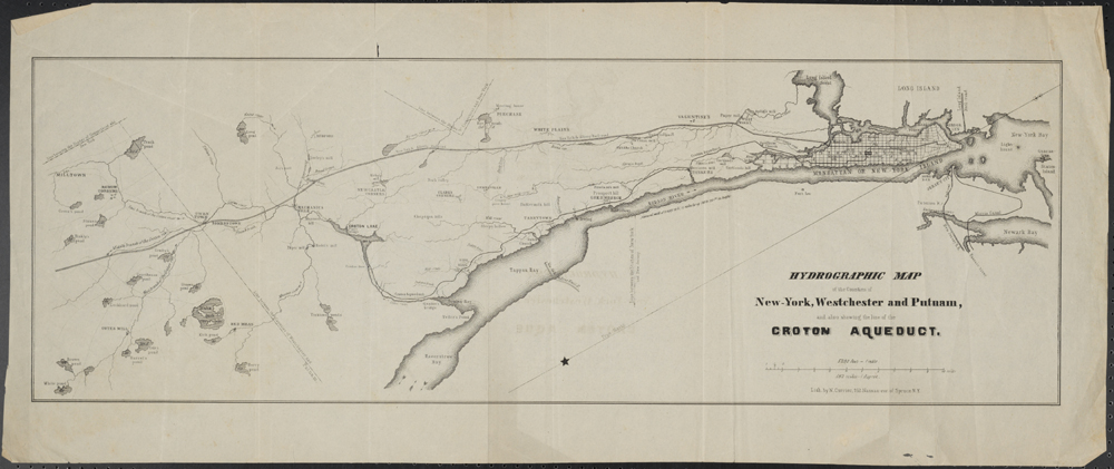 N. Currier (Firm). Hydrographic Map of the Counties of New York, Westchester, and Putnam, and also showing the line of the Croton Aquaduct. ca. 1845. Museum of the City of New York. X2011.5.131