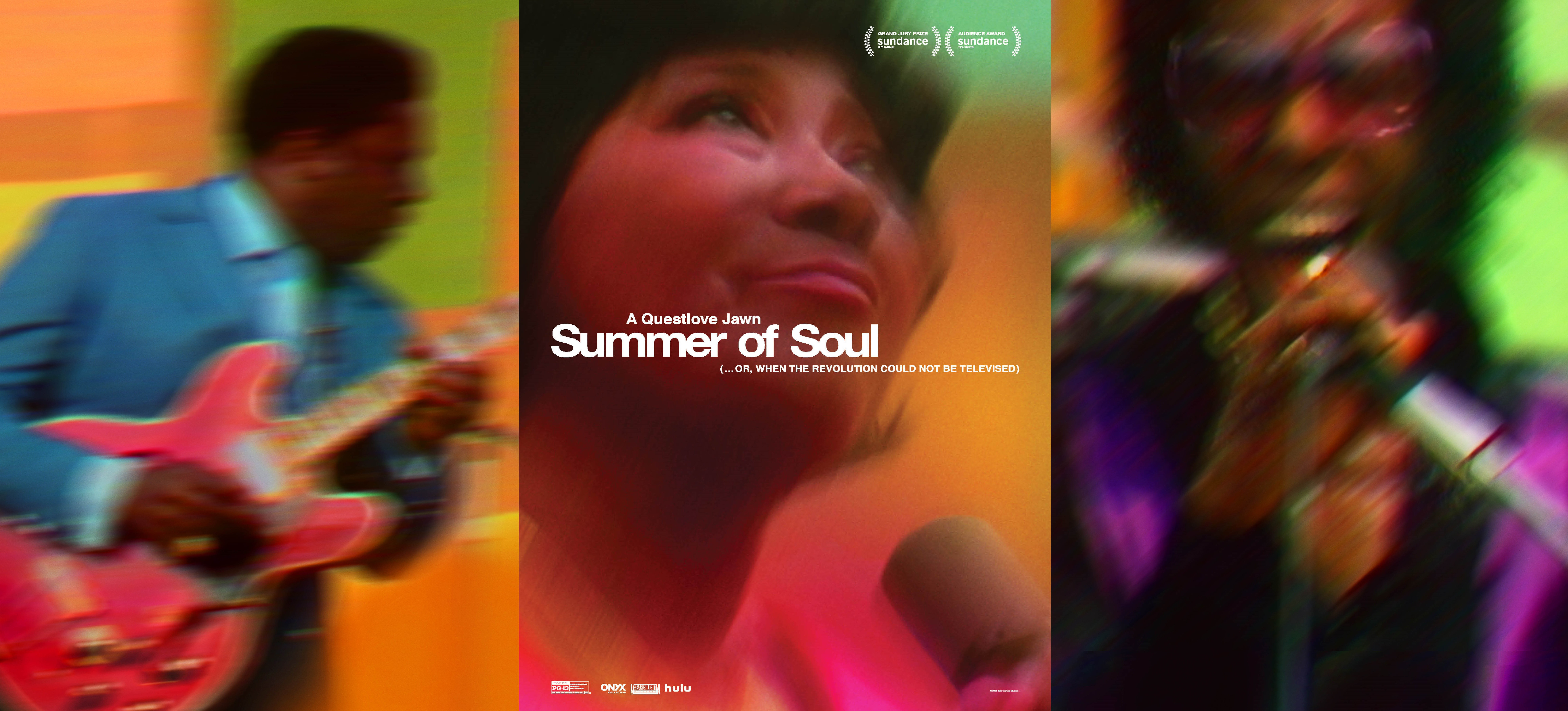 一系列三个模糊的图像:BB King 弹吉他,Mahalia Jackson 抬头,Sly & The Family Stone 唱歌。