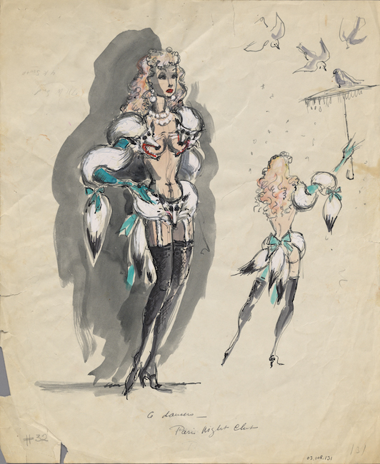 Hand-drawn costume sketch. Dance hall girl in white fox stoles.