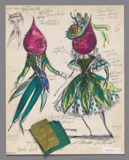 Boceto dibujado a mano. Diseño de vestuario que representa a un hombre y una mujer con remolacha por cabeza. Se adjuntan muestras de tela verde esmeralda y chartreuse.