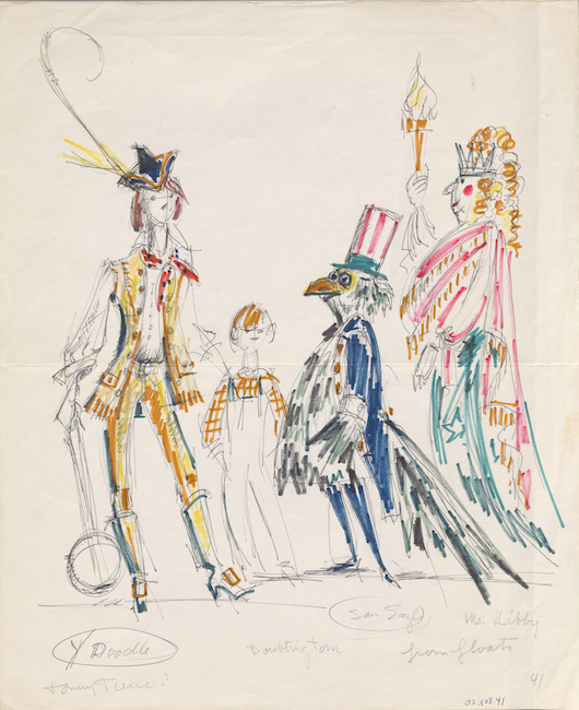 Hand-drawn sketch. Five characters in assorted colors and costumes.