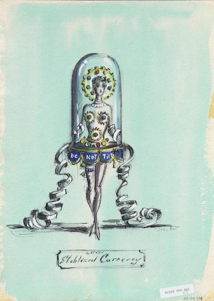 """Mujer con poca ropa vestida como una máquina de cotizaciones con la etiqueta """"No inclinar"""" Dibujo titulado """"Moneda estabilizada"""""""