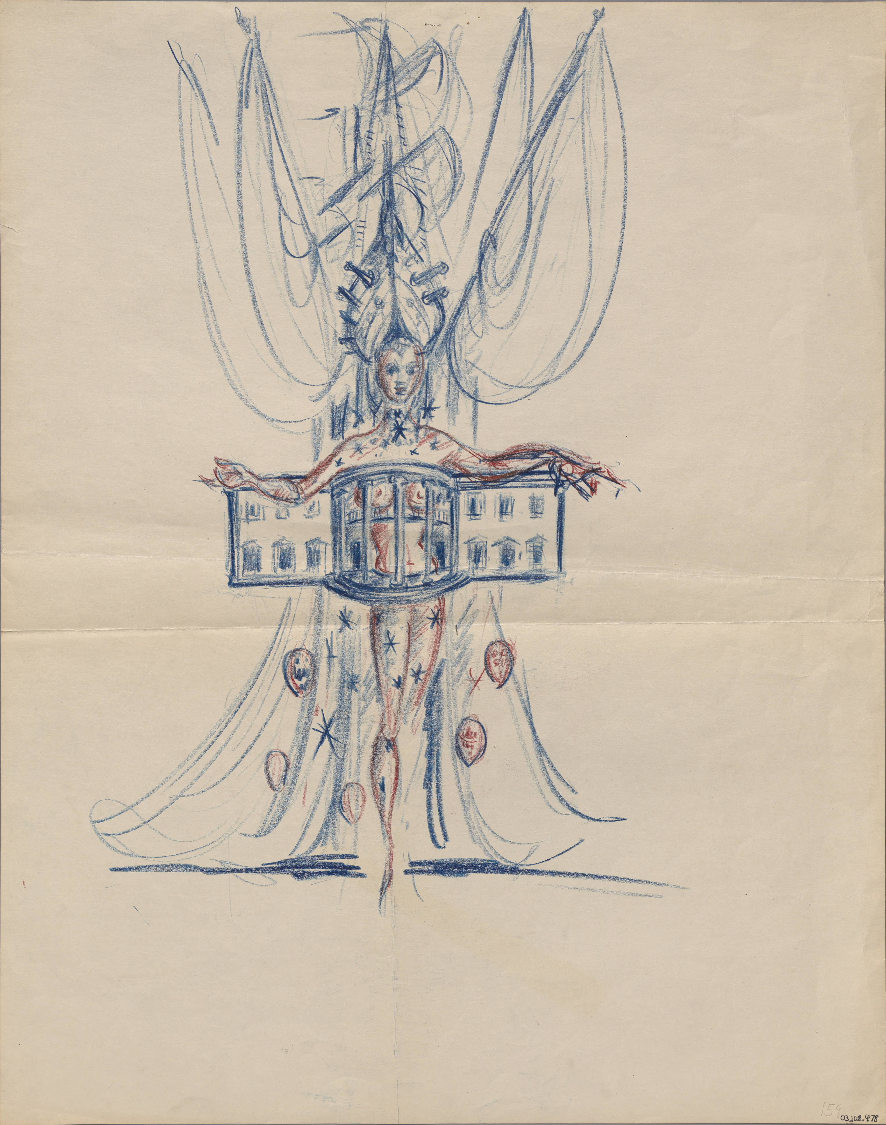 Sketch of a scantily clad woman in White House costume