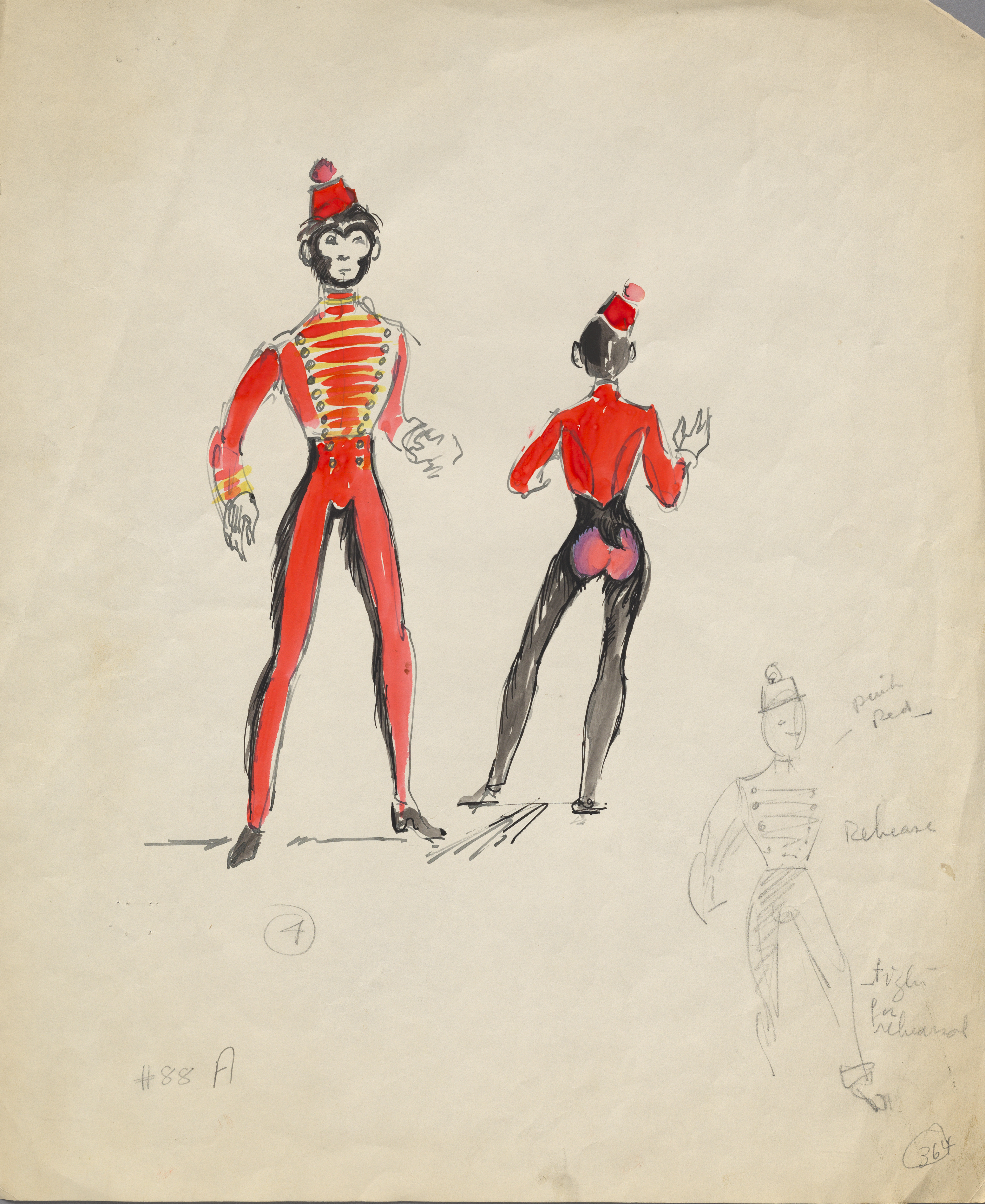 Hand-drawn sketch. Two costume designs done in pink, red, yellow, black, grey, and white for a monkey dressed in a bellhop's uniform.