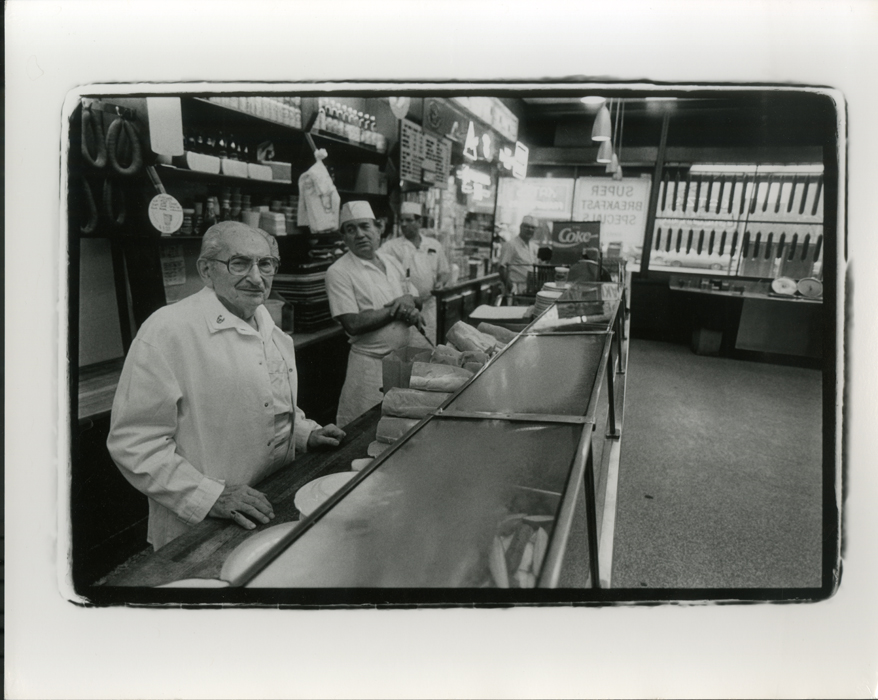 Employees of Katz's Delicatessen behind the counter.