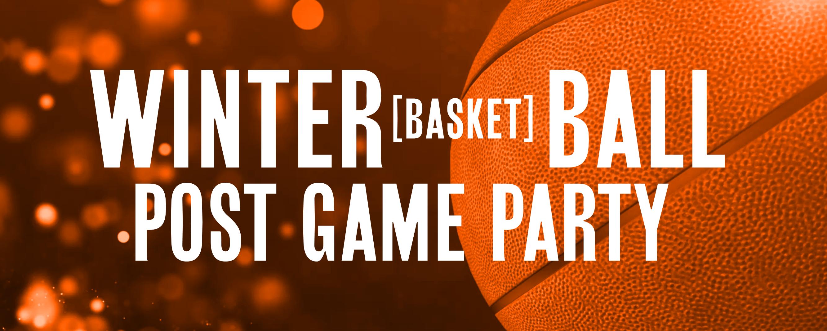 uma imagem de banner para festa de jogo de basquete com cesta de inverno