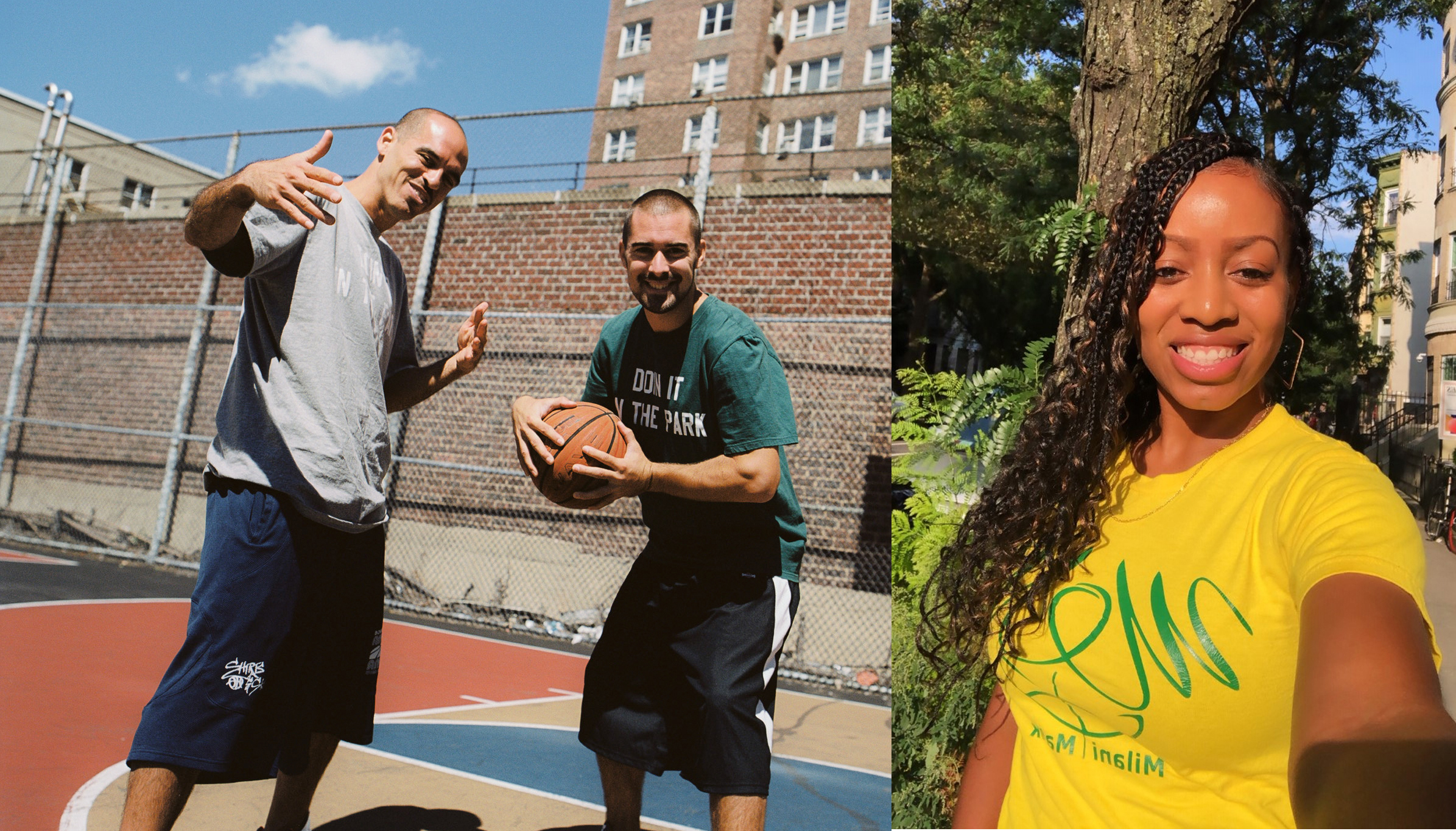 Left: Image of Bobbito Garcia & Kevin Couliau on a basketball court. Right: photograph of Milani Malik in a yellow shirt