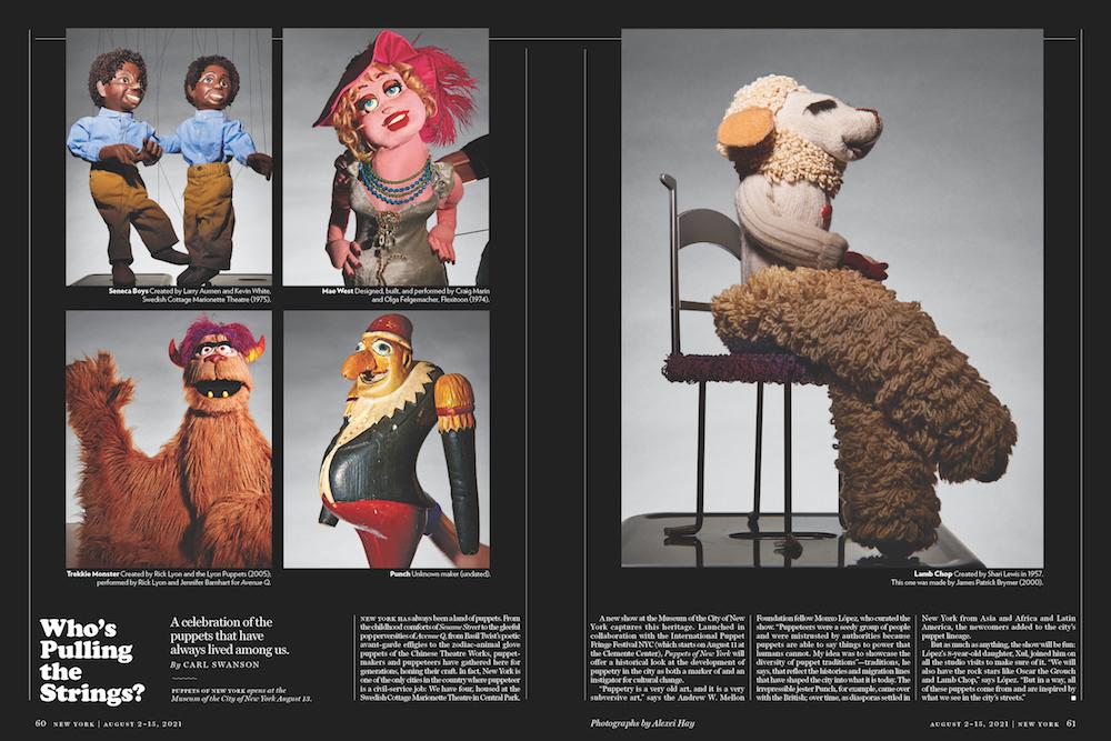 """Difundido de la revista New York Magazine con imágenes de marionetas seleccionadas de la exposición """"Puppets of New York"""" encima de un breve artículo."""