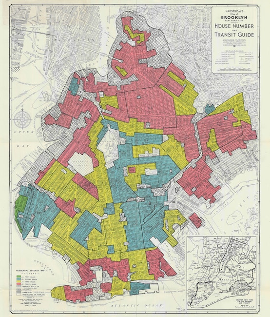 Map of Brooklyn showing redlining districts in 1938.