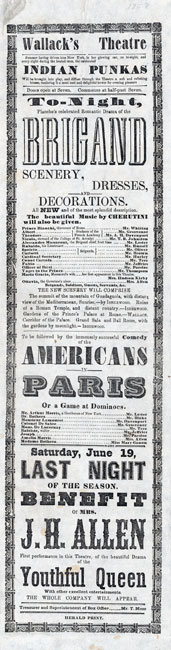 "Broadside anunciando performances de ""The Brigand"" e ""Americans in Paris; ou, Um jogo no dominó ""no Lyceum Theatre de Wallack em 1858."