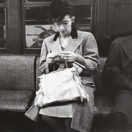 Stanley Kubrick. Life and Love on the New York City Subway. Woman knitting on a subway. 1946. Museum of the City of New York. X2011.4.11107.16