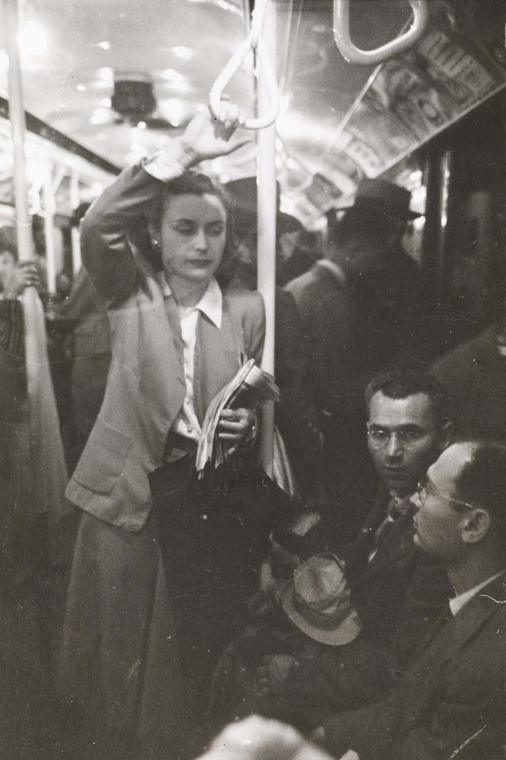 Stanley Kubrick. Life and Love on the New York City Subway. Passengers in a subway car. 1946. Museum of the City of New York. X2011.4.10292.56E